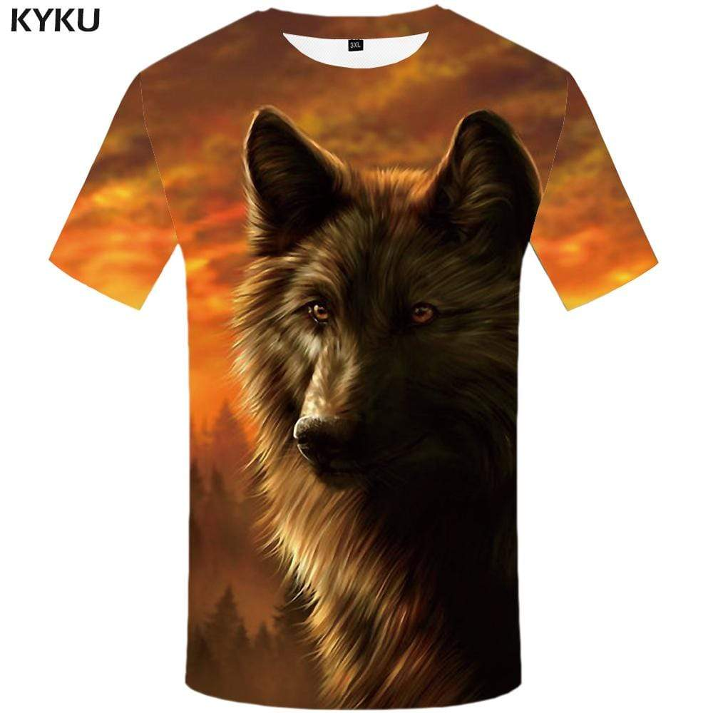 Wolf T-shirts Men Forest T-shirt 3d Animal T shirts Funny Yellow Tshirt Anime Harajuku Tshirts Print Mens Clothing Short Sleeve
