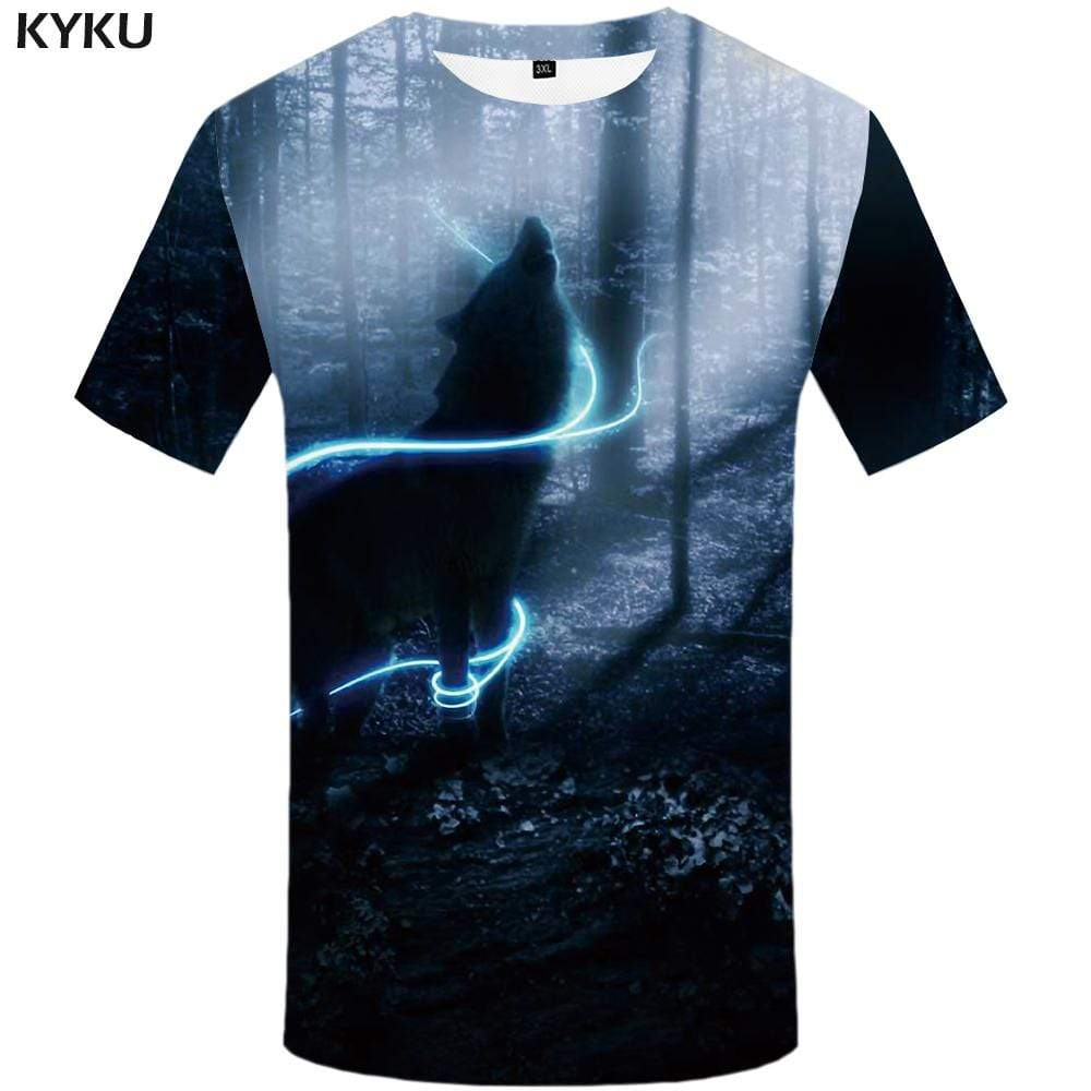 KYKU Brand Wolf T shirt Men Forest T-shirt 3d Lightning T shirts Funny Animal Tshirt Anime Tshirts Print Mens Fashion Casual