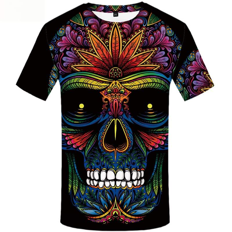 Skull T shirts Men Flower Shirt Print Colorful Tshirts Novelty Short Sleeve