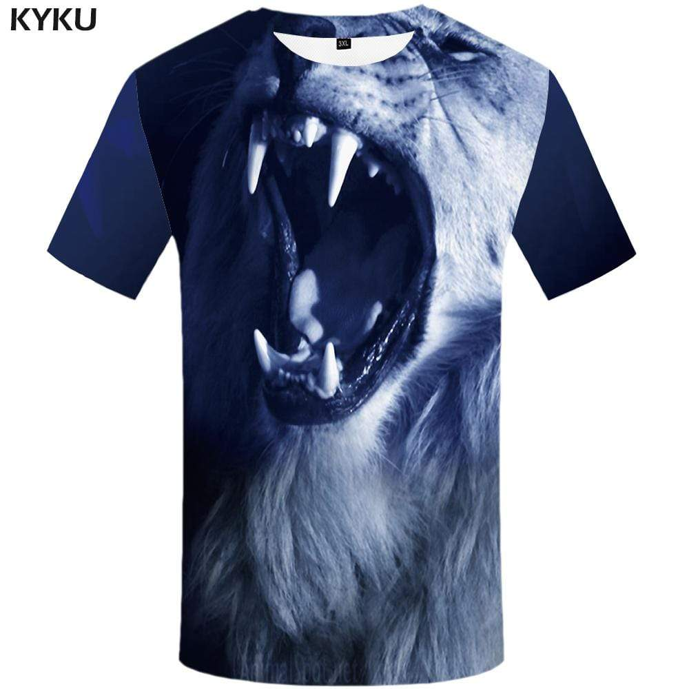 Lion T shirt Men Blue T shirts Funny Animal T-shirt 3d Angry Tshirts Print Gothic Tshirt Anime Mens Clothing Casual Unisex