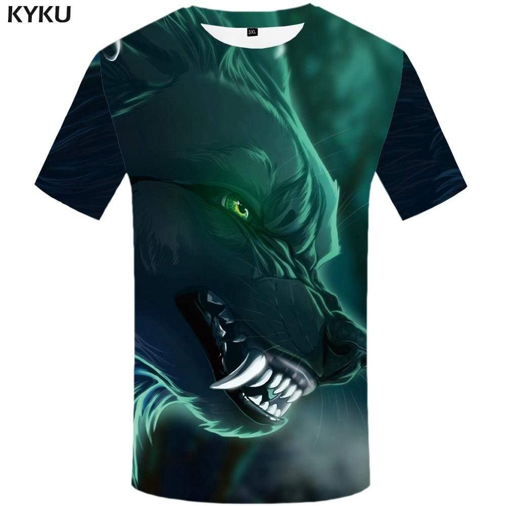 Wolf T-shirts Men Mountain Tshirts Print Animal Tshirt Anime Moon T shirts Funny Cloud T-shirt 3d Mens Fashion Casual Unisex