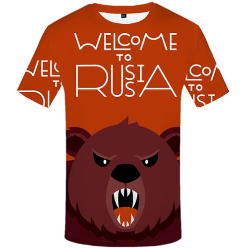 Bear T-shirt Men Angry Tshirts Novelty Russia Tshirt Anime Short Sleeve