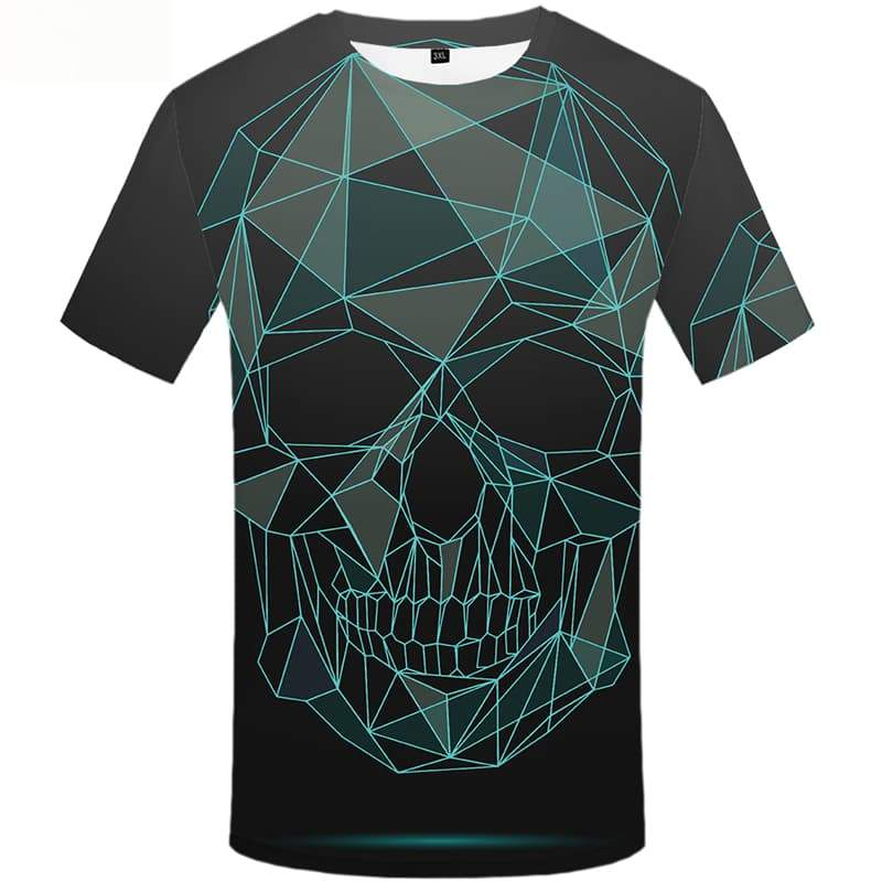 Skull T-shirt Men Geometric Tshirts Novelty Cobweb Tshirts Cool Short Sleeve