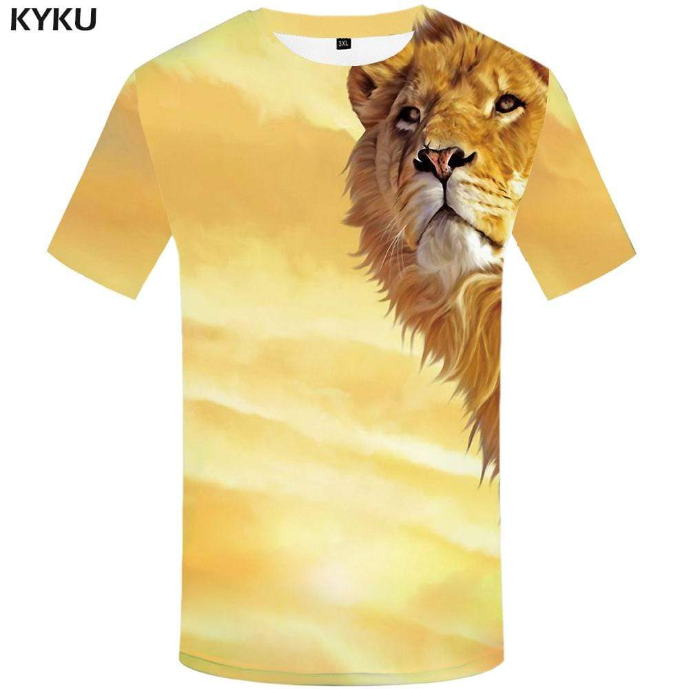 Lion T shirt Men Animal T shirts Funny Art T-shirt 3d Harajuku Tshirts Print Cloud Tshirt Anime Mens Fashion Hip hop Unisex
