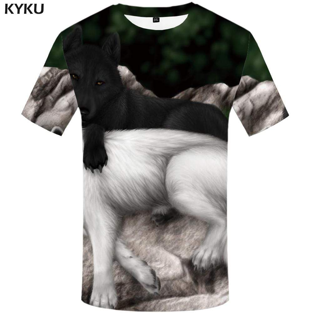 KYKU Brand Wolf T shirt Men Animal Tshirts Print Black And White Tshirt Anime Love T shirts Funny Harajuku T-shirt 3d