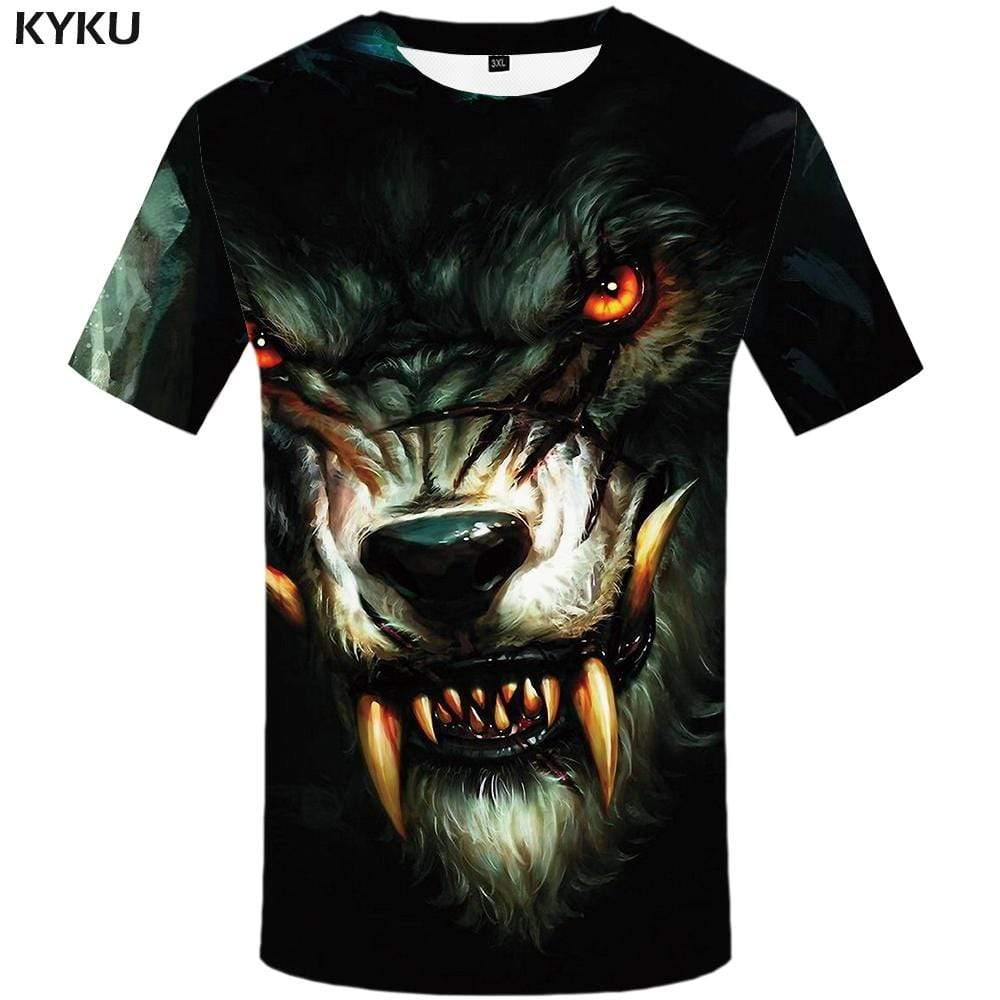 KYKU Brand Wolf T shirt Men Blood Tshirt Anime Animal T shirts Funny War Tshirts Print Gothic T-shirt 3d Mens Fashion