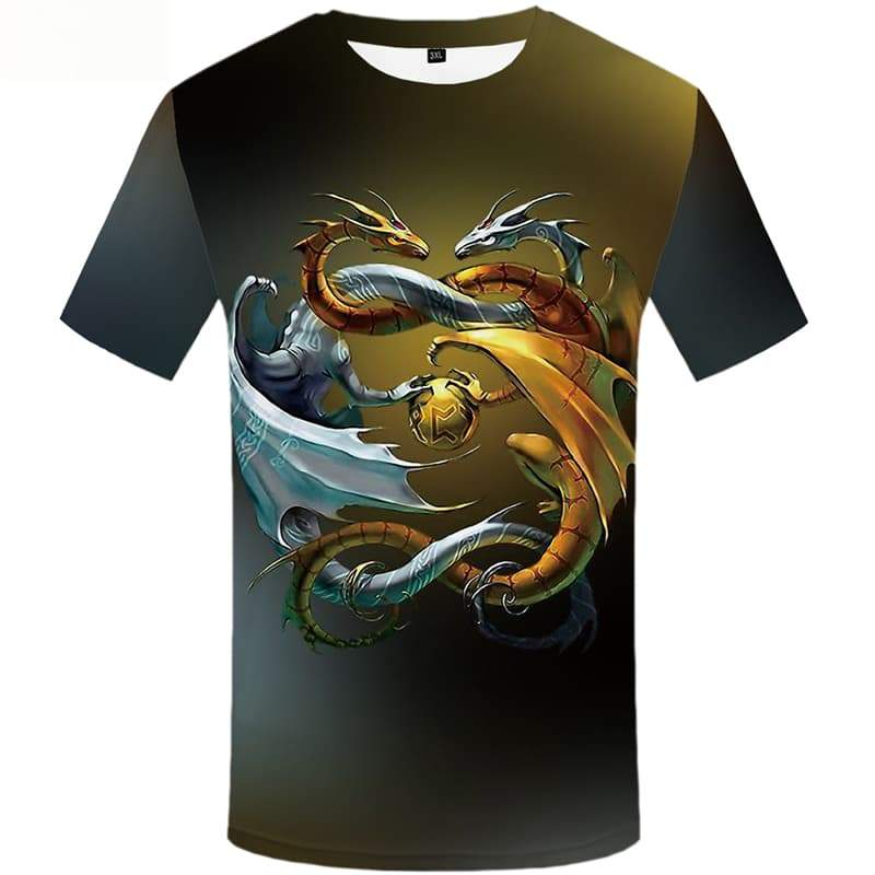 Yinyang T-shirt Men Metal T-shirts Graphic Animal Tshirt Anime Short Sleeve