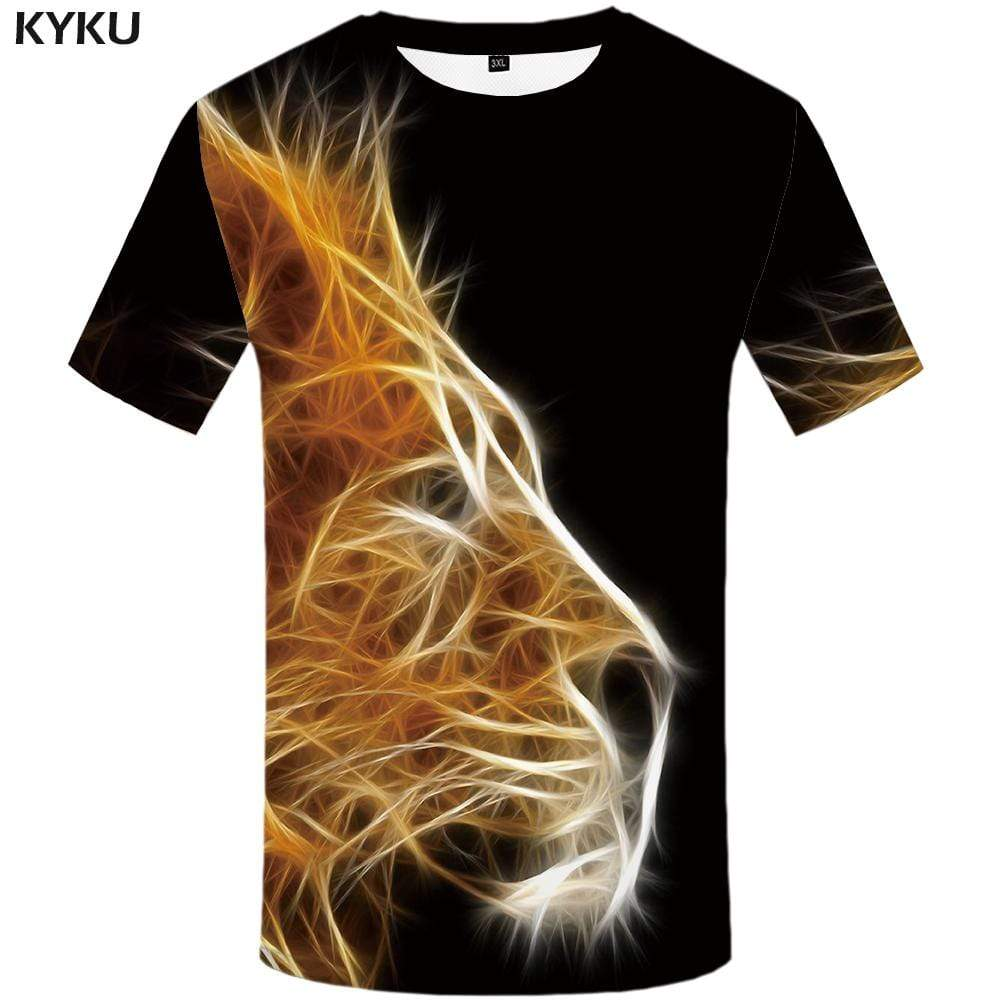 Lion T shirt Men Black T shirts Funny Animal Tshirts Print Harajuku Tshirt Anime T-shirt 3d Mens Fashion Graphic Unisex Cool