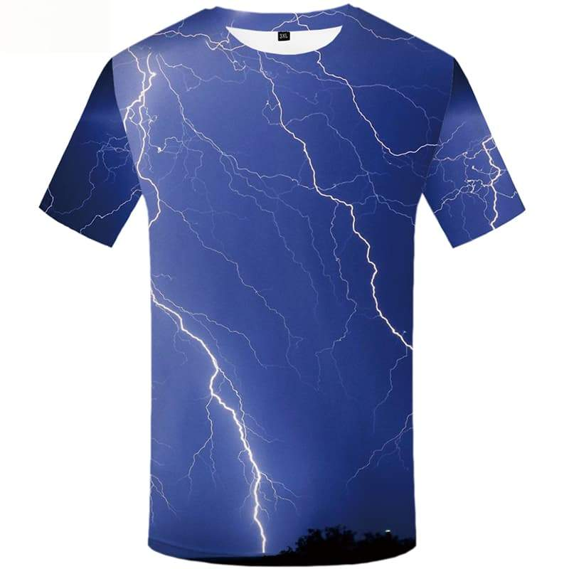 Lightning T shirts Men Forest Tshirts Casual Space Shirt Print Short Sleeve