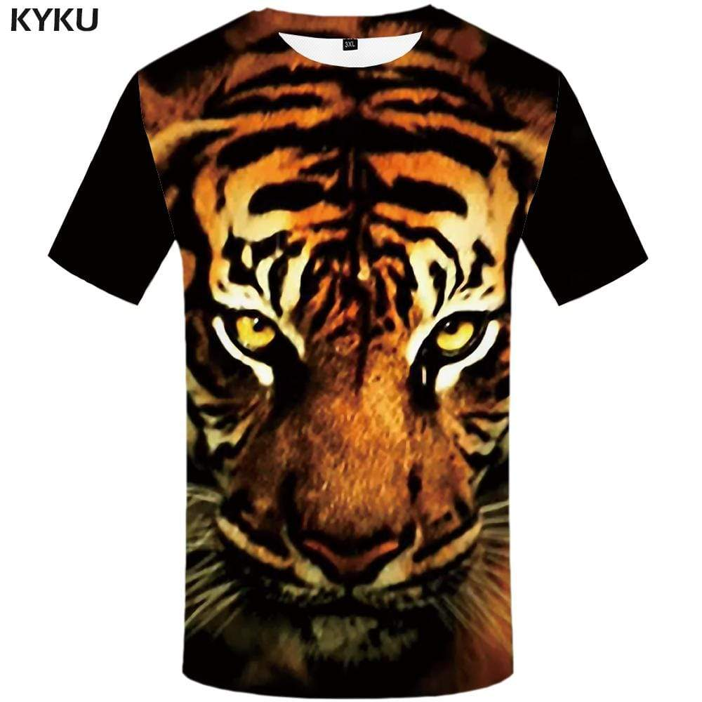 Tiger T-shirts Men Animal Tshirts Print Yellow T shirts Funny Gothic T-shirt 3d Tshirt Anime Mens Clothing Short Sleeve Unisex