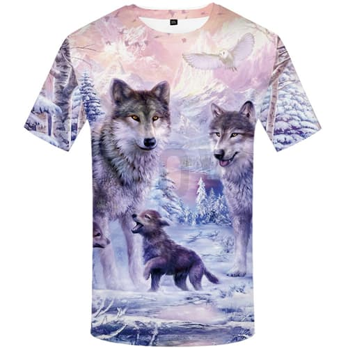 KYKU Brand Wolf T-shirts Men Mountain Tshirt Anime Animal Tshirts Print Forest T shirts Funny Love T-shirt 3d Mens Clothing