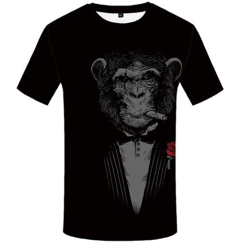 Smoking Monkey T shirts Men Animal Tshirts Cool Black Tshirts Novelty Rose T-shirts Graphic Gothic Tshirt Anime Short Sleeve - KYKU