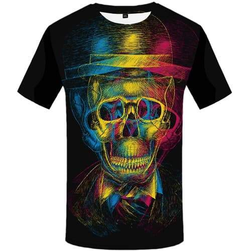Skull T-shirt Men Graffiti Tshirts Novelty Skeleton T-shirts Graphic Colorful Tshirts Casual Psychedelic T shirts Funny - KYKU