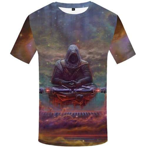 Meditation T shirts Men Skull Tshirts Casual Metal T-shirts Graphic Galaxy Space Shirt Print Colorful Tshirts Novelty - KYKU
