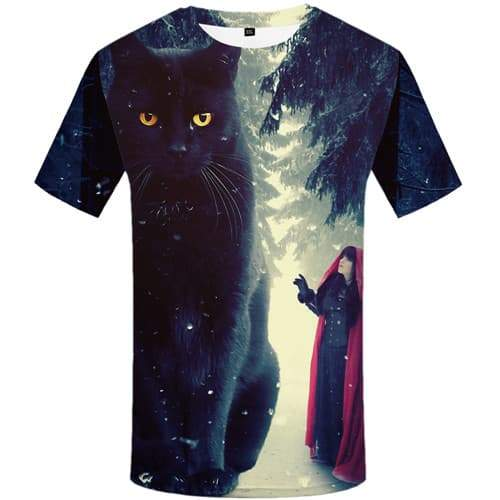 Cat T-shirt Men Animal T-shirts Graphic Forest Tshirts Cool Harajuku Tshirts Novelty Character Shirt Print Short Sleeve Fashion