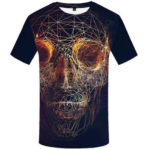 Skull T shirts Men Galaxy Space T shirts Funny Geometric Tshirt Anime Flame T-shirts Graphic Gothic Tshirt Printed Short Sleeve