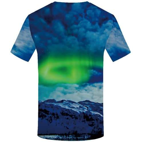 Aurora T shirts Men Mountain Shirt Print Harajuku Tshirts Novelty Cloud T-shirts Graphic Space Tshirt Printed Short Sleeve - KYKU