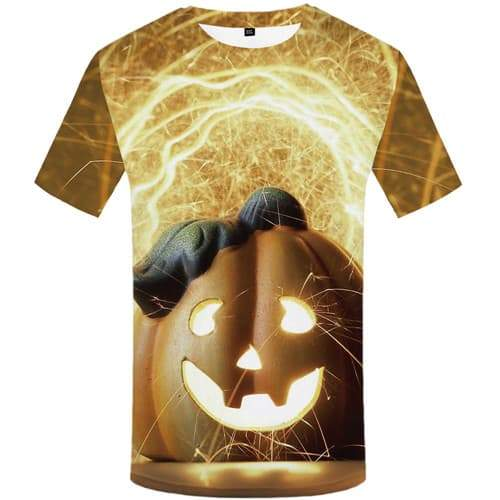 Halloween T shirts Men Psychedelic Shirt Print Pumpkin Tshirts Novelty Fire T-shirts 3d Short Sleeve Fashion Men women Tee - KYKU