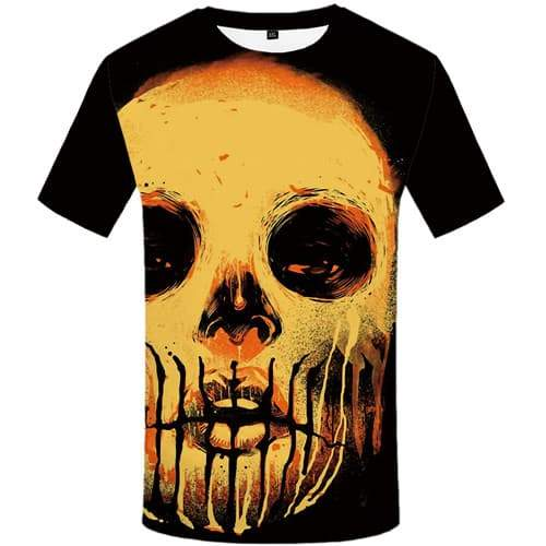 Skull T-shirt Men Graffiti T-shirts 3d Paint Tshirt Printed Punk T-shirts Graphic Art Tshirts Casual Short Sleeve Punk Rock Mens - KYKU