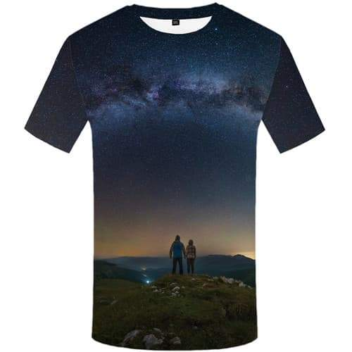 Space Galaxy T-shirt Men Mountain Shirt Print Character Tshirts Casual Love Tshirt Printed Nebula T-shirts Graphic Short Sleeve - KYKU