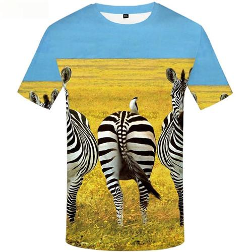 Zebra T-shirt Men Animal Tshirts Cool Sky T-shirts Graphic Yellow Tshirt Printed Weed Tshirts Novelty Short Sleeve Fashion