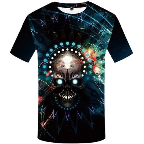 Skull T shirts Men Galaxy Space Tshirts Casual Black T-shirts 3d Colorful Shirt Print Graffiti T-shirts Graphic Short Sleeve