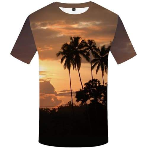 Coconut Tree T-shirt Men Cloud T shirts Funny Harajuku Tshirts Cool Forest Tshirts Novelty Tropical T-shirts 3d Short Sleeve - KYKU