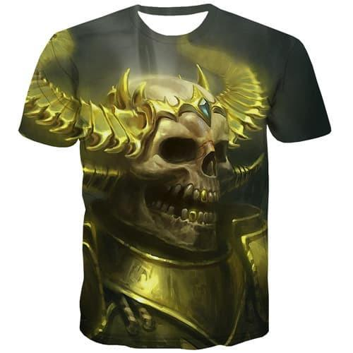 Skull T shirts Men Military Shirt Print Gothic T-shirts 3d Hip Hop T-shirts Graphic Punk Rock Tshirts Casual Short Sleeve - KYKU