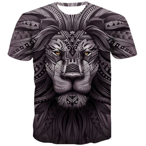 Lion T shirts Men Animal Tshirt Anime War T-shirts Graphic King Tshirt Printed Harajuku Shirt Print Short Sleeve Hip hop Men - KYKU