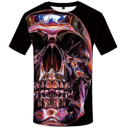 Skull T-shirt Men Colorful T-shirts Graphic Psychedelic T shirts Funny Aurora Tshirts Casual Gothic Shirt Print Short Sleeve - KYKU