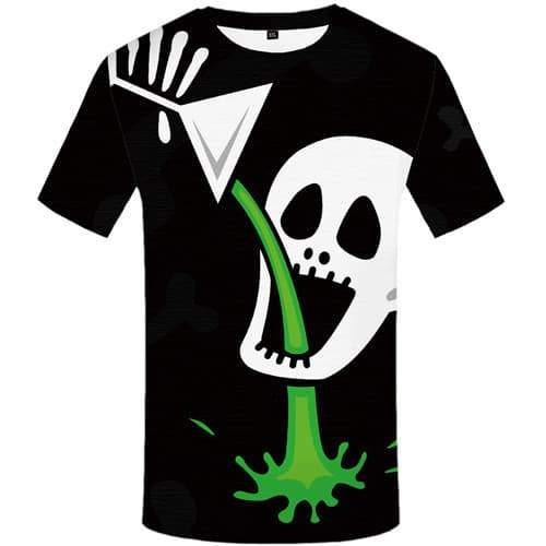 Skull T shirts Men Skeleton Tshirts Novelty Cartoon Tshirt Anime Black Tshirts Cool Gothic Shirt Print Short Sleeve Fashion Mens - KYKU