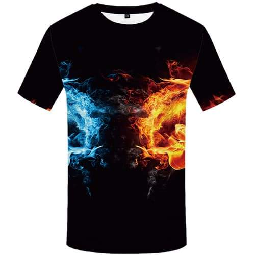 Yin Yang T shirts Men Black Tshirt Anime Flame Tshirts Novelty Water Shirt Print Harajuku Tshirts Casual Short Sleeve Fashion - KYKU