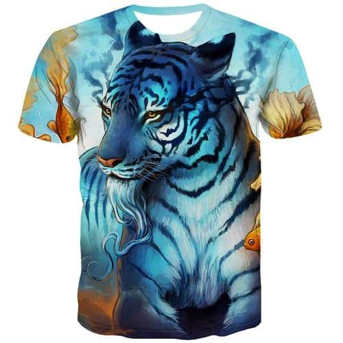 Tiger T shirts Men Animal T-shirts 3d Leopard Tshirts Novelty Cartoon Tshirts Casual Harajuku Shirt Print Short Sleeve Fashion - KYKU