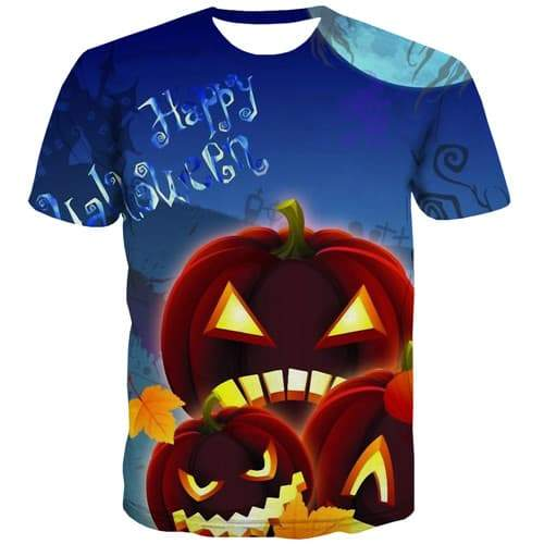 Pumpkin T shirts Men Halloween Tshirts Novelty Moon Tshirt Anime Cartoon Tshirt Printed Harajuku Tshirts Casual Short Sleeve - KYKU