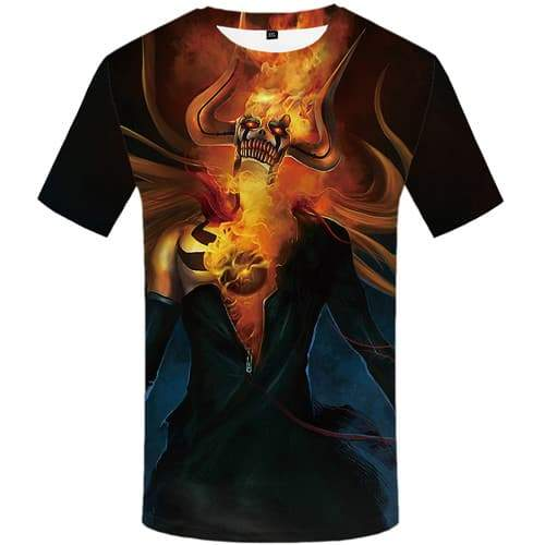 Skull T-shirt Men Flame Shirt Print War Tshirts Casual Cosplay T shirts Funny Gothic Tshirts Cool Short Sleeve Fashion Mens Tops - KYKU