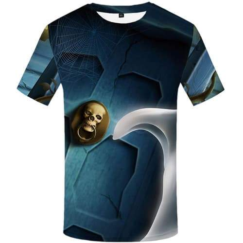 Skull T-shirt Men Halloween Tshirt Anime Spider Web Shirt Print Gothic T-shirts Graphic Harajuku Tshirts Novelty Short Sleeve - KYKU