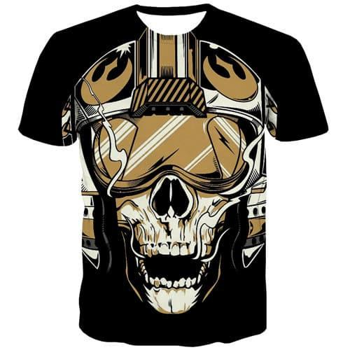 Skull T-shirt Men Funny Shirt Print Punk Rock T-shirts 3d Hip Hop T-shirts Graphic Street T shirts Funny Short Sleeve Fashion - KYKU