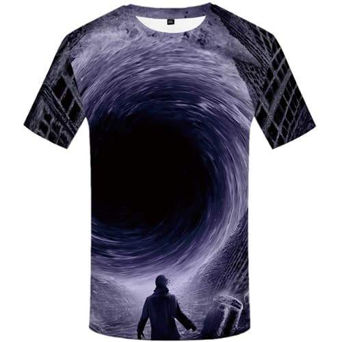 Black Hole T shirts Men Wave T-shirts Graphic Metal Tshirts Novelty Character Tshirts Casual Military Shirt Print Short Sleeve - KYKU