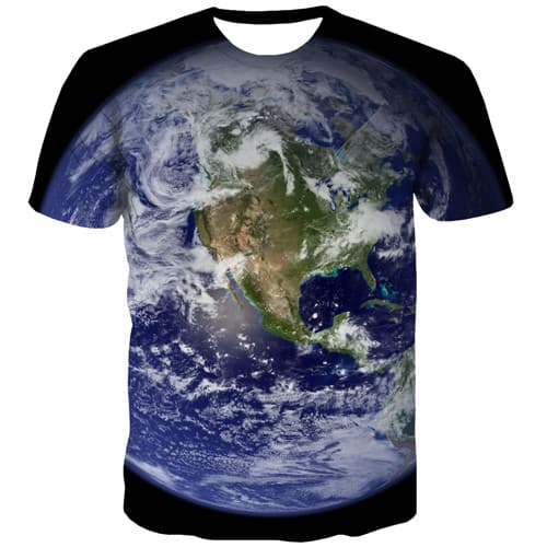 World Map T shirts Men Galaxy Space Tshirts Casual Earth Tshirt Anime Blue Tshirts Cool Gothic T-shirts 3d Short Sleeve - KYKU