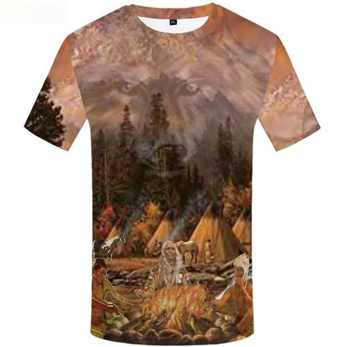 Indians T shirts Men Flame Tshirts Cool Wolf Tshirts Novelty Forest Tshirts Casual Mountain T-shirts 3d Short Sleeve T shirts
