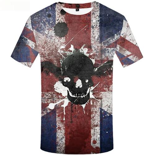 Skull T-shirt Men British Flag Tshirts Cool Ink Tshirts Novelty Wing Tshirts Casual Short Sleeve summer Men Tee Top Streetwear