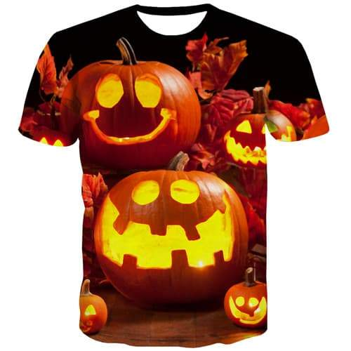 Pumpkin T-shirt Men Halloween Tshirts Novelty Flame Tshirts Cool Terror Tshirt Anime Funny T shirts Funny Short Sleeve summer - KYKU