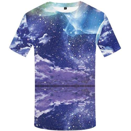 Aurora T-shirt Men Refraction T-shirts 3d Galaxy Space Tshirt Anime Moon Tshirts Casual Colorful T shirts Funny Short Sleeve - KYKU