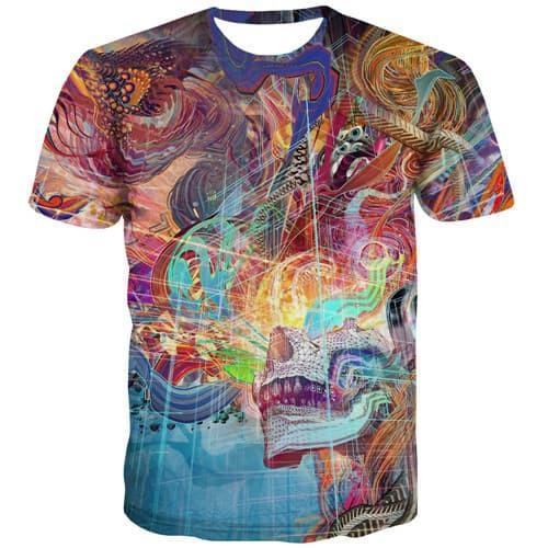 Skull T-shirt Men Colorful Tshirts Novelty Abstract Tshirt Anime Psychedelic Tshirts Cool Gothic Shirt Print Short Sleeve