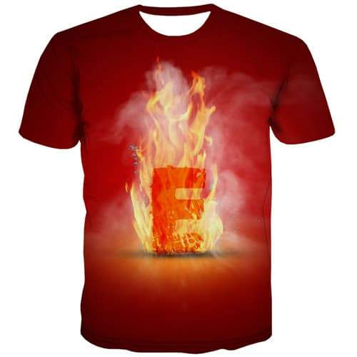 Letter T-shirt Men Flame Tshirt Printed Red Tshirts Novelty Fire Shirt Print Gothic T-shirts Graphic Short Sleeve Hip hop Unisex - KYKU