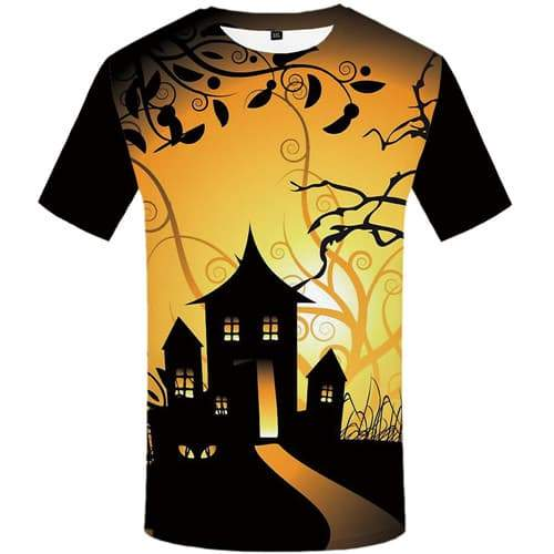 Halloween T-shirt Men Yellow T-shirts 3d Cosplay Tshirts Casual Party T-shirts Graphic Psychedelic Tshirts Cool Short Sleeve - KYKU
