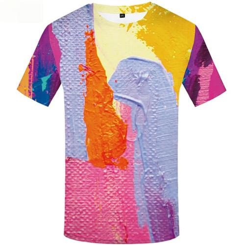 Graffiti T-shirt Men Colorful Tshirts Casual Harajuku Shirt Print Retro Tshirts Novelty Art T-shirts 3d Short Sleeve summer