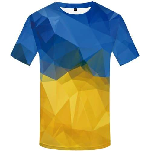 Union Flag T-shirt Men Geometric T shirts Funny Ukraine Tshirts Cool Harajuku Tshirt Printed Gothic T-shirts Graphic - KYKU