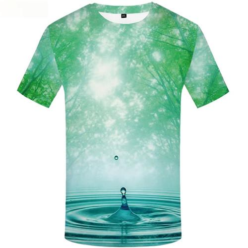 Water T shirts Men Forest T-shirts 3d Green Tshirts Casual Sky T-shirts Graphic Short Sleeve summer Men/women S-5XL Slim O-Neck