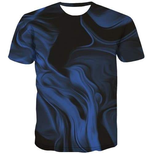 Psychedelic T-shirt Men Abstract T-shirts Graphic Nebula Tshirt Printed Blue T shirts Funny Retro Tshirts Novelty Short Sleeve - KYKU
